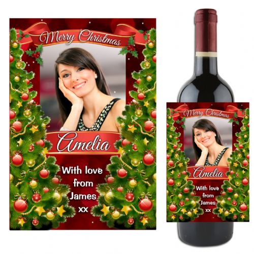 Personalised Christmas Wine / Champagne Bottle PHOTO Label N118